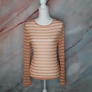 NEW YORK & CO Sheer Orange Striped Blouse